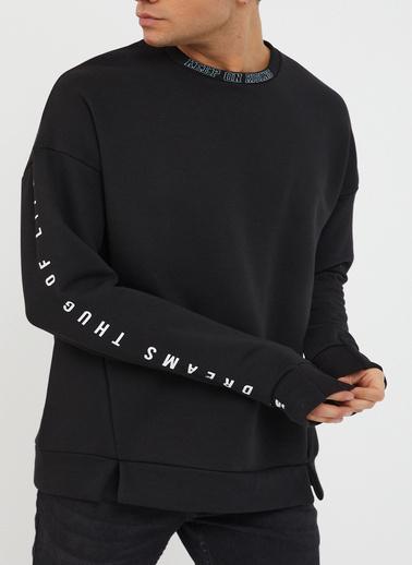 XHAN Gül Kurusu Baskılı Yumuşak Dokulu Sweatshirt 1Kxe8-44485-65 Siyah